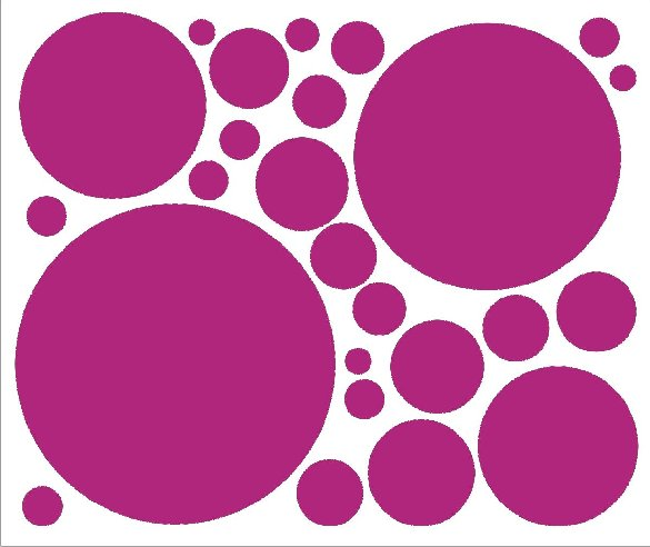 Bright Pink 25 Peel and Stick Wall Stickers - Kids Wall Decor Store