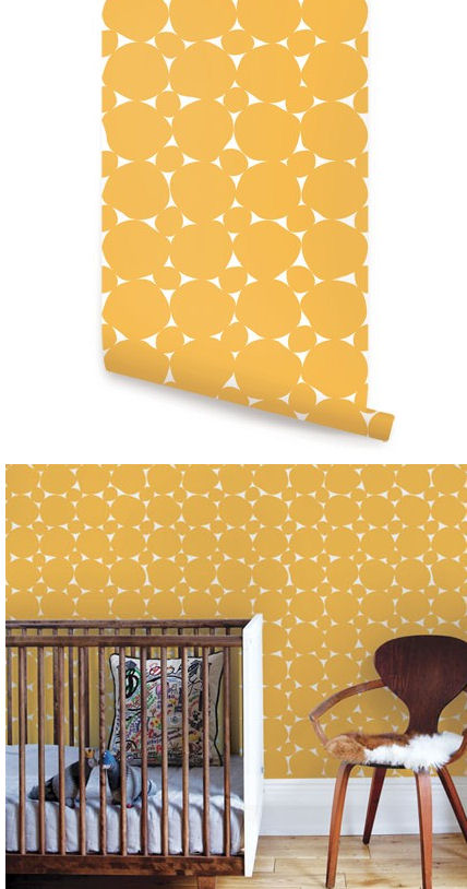 Dots Yellow Peel and Stick Wallpaper