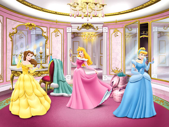 Disney princess dressing room large mural sale for Disney princess ballroom wall mural