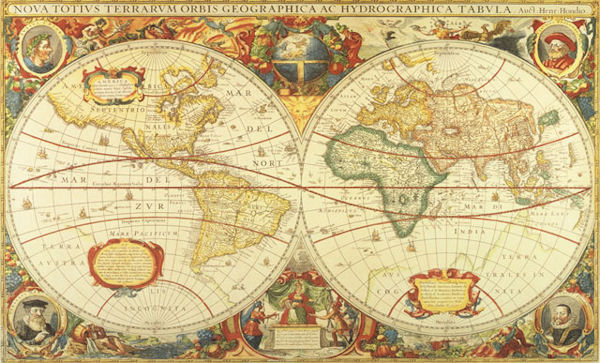 Antique world map wall mural c873 for Antique world map wallpaper mural