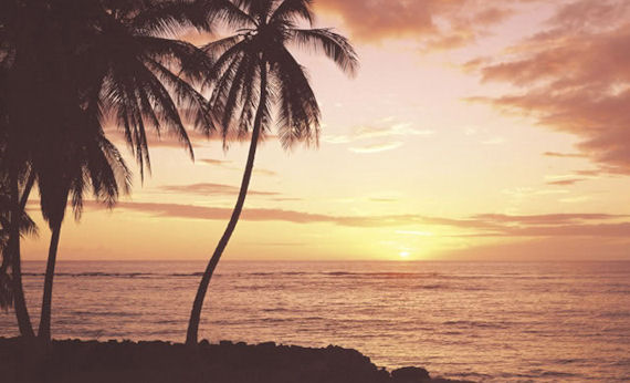 Hawaiian sunset wall mural for Beach sunset mural