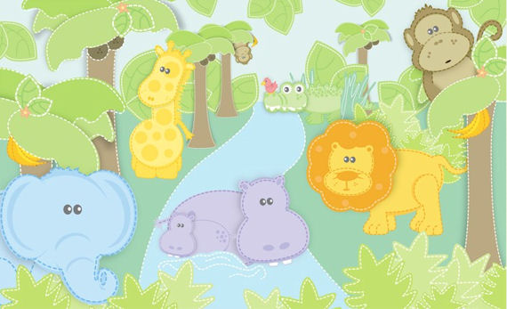 Small Safari Wall Mural C841 - Wall Sticker Outlet