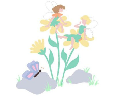 Elephants On The Wall Daisy Fairies Wall Mural - Wall Sticker Outlet