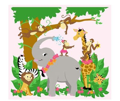 Elephants on the Wall Jungle Hula Party Mural - Wall Sticker Outlet