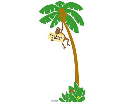 Elephants on the Wall Monkey in a Tree Mural - Wall Sticker Outlet