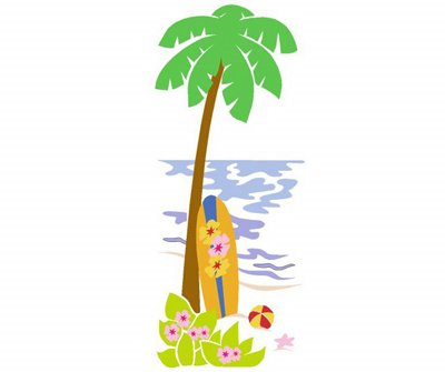 Elephants on the Wall Palm Tree Surfboard Mural - Wall Sticker Outlet