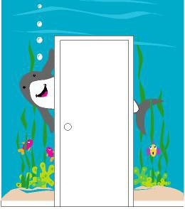 Elephants on the Wall Shark Doorhugger Wall Mural - Kids Wall Decor Store