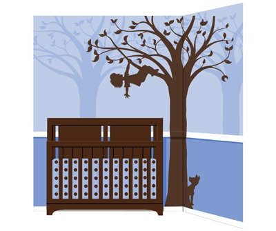 Elephants on the Wall Silhouette Fun 4 Boys Mural - Wall Sticker Outlet