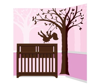 Elephants on the Wall Silhouette Swing Mural - Wall Sticker Outlet
