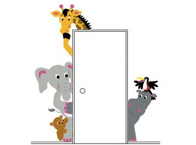 Elephants on the Wall Menagerie Doorhugger Mural - Wall Sticker Outlet