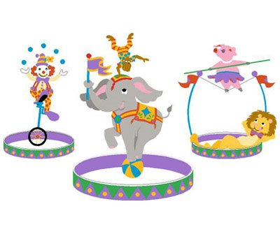 Elephants on the Wall Three Ring Circus Mural - Kids Wall Decor Store