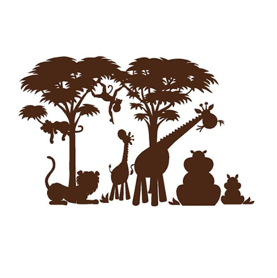Elephants On the Wall Silhouette P 1 Wall Mural - Wall Sticker Outlet