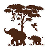 Elephants On the Wall Silhouette P 2  Wall Mural
