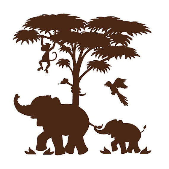 Elephants On the Wall Silhouette P 2  Wall Mural - Wall Sticker Outlet