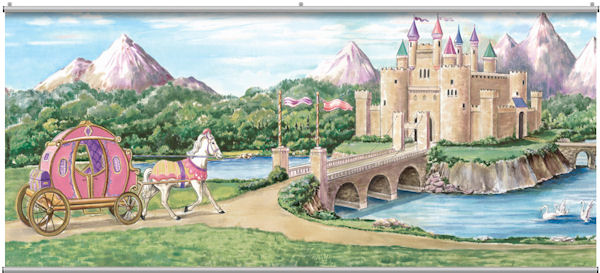 Enchanted kingdom minute mural for Fairy castle wall mural