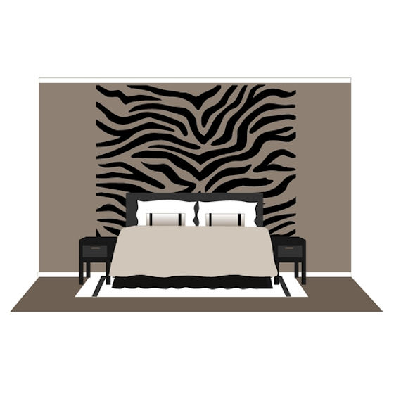 Large Zebra Stripes Wall Mural Paint By Number - Zebra stripe wall decals