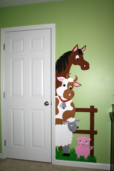 Elephants On The Wall Barnyard Doorhugger Mural - Wall Sticker Outlet