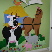 Elephants On The Wall Barnyard Friends Wall Mural