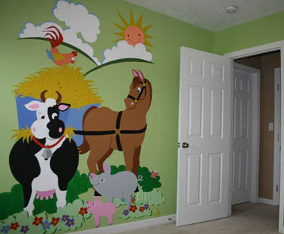 Elephants On The Wall Barnyard Friends Wall Mural - Wall Sticker Outlet