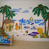 Elephants On The Wall Beach Scene Wall Mural