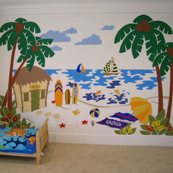 Elephants On The Wall Beach Scene Wall Mural - Wall Sticker Outlet