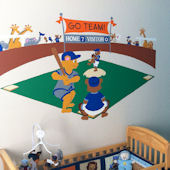 Elephants On The Wall Baseball Bears Wall Mural