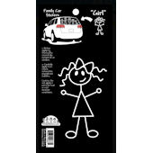 Girl With Bow Family Car Sticker
