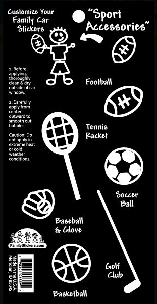 Sports Accesories Family Car Sticker - Kids Wall Decor Store
