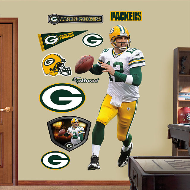 Fathead Aaron Rodgers Away Green Bay Packers   Wall Sticker Outlet Part 38