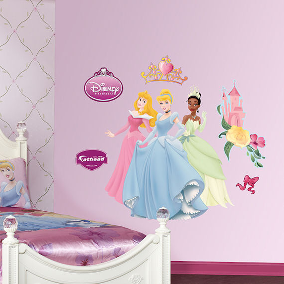 Disney aurora cinderella and tiana wall sticker for Disney princess mural stickers