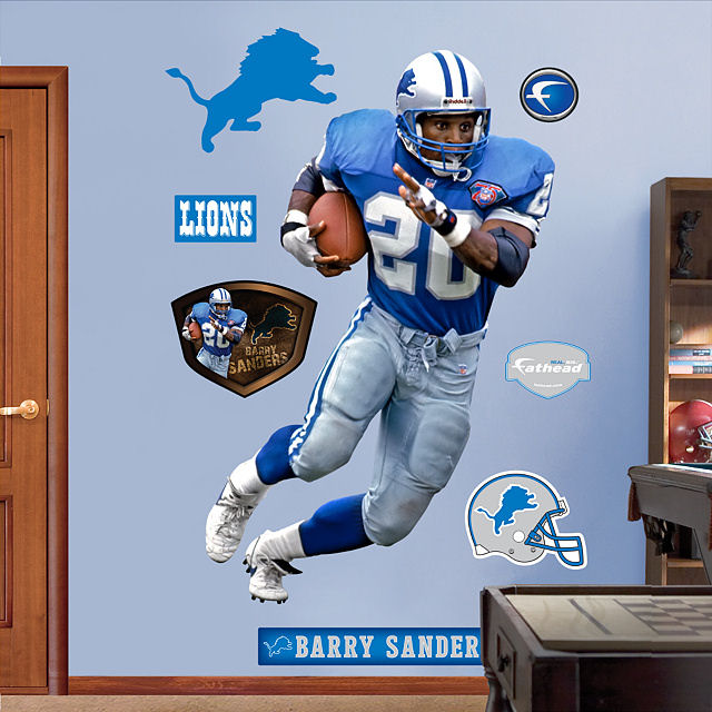Fathead Detroit Lions Barry Sanders Real Big Mural - Wall Sticker Outlet