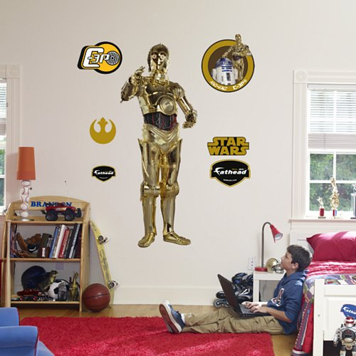 Fathead C-3PO Star Wars Peel Stick Wall Graphic - Kids Wall Decor Store