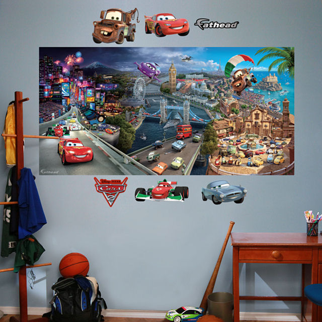 Fathead disney world of cars 2 mural for Disney cars large wall mural