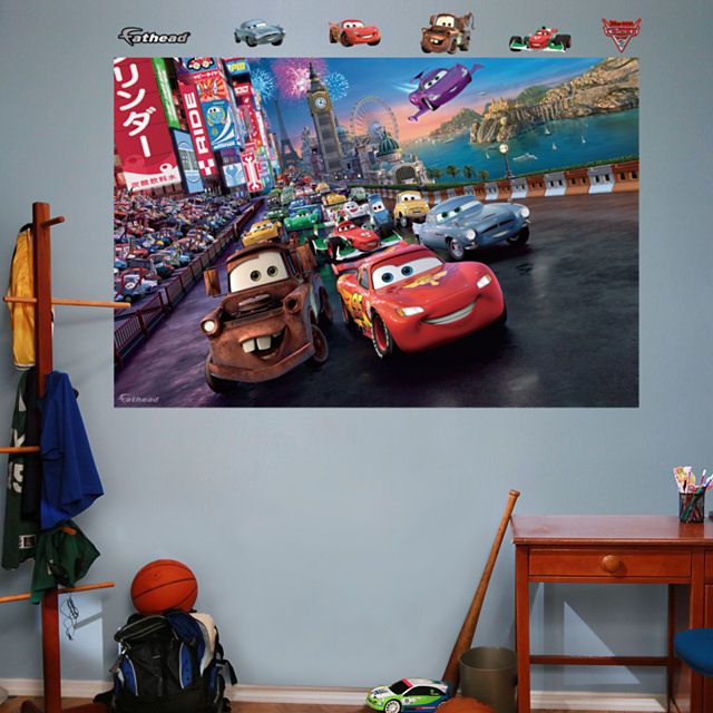 Fathead disney cars 2 parade mural for Disney pixar cars mural wallpaper