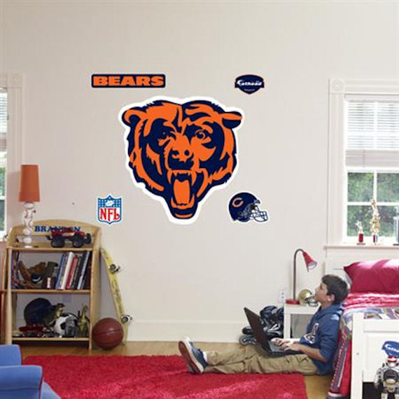 Fathead Chicago Bears Logo Real Big Mural - Wall Sticker Outlet