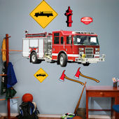 Fathead Fire Truck Peel and Stick Wall Graphic
