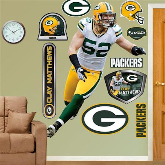 Fathead Green Bay Packers Clay Matthews Real Big   Wall Sticker Outlet Part 44
