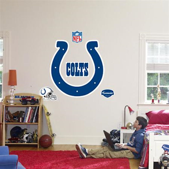 Fathead indianapolis colts logo real big mural kids wall for Colts bedroom ideas