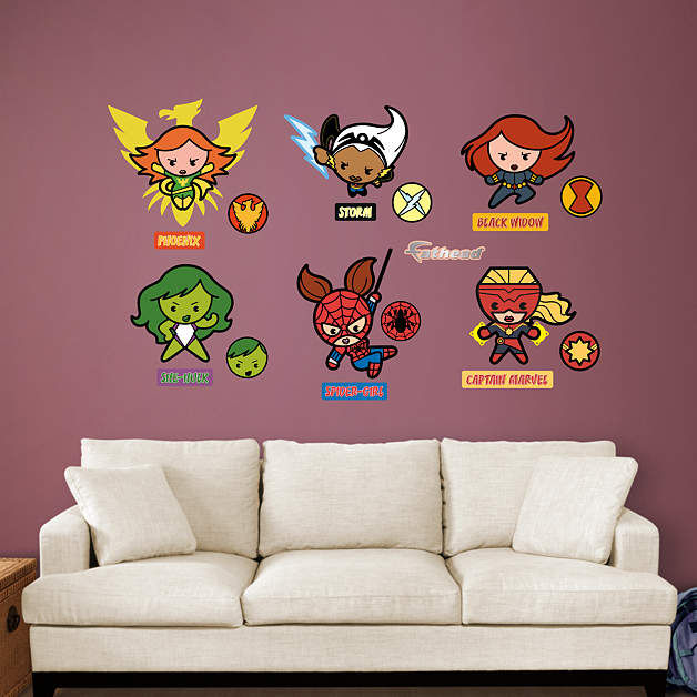 Fathead Kawaii Marvel Girl Superheroes Collection - Wall Sticker Outlet