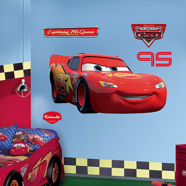 Fathead Cars Lighting McQueen Wall Graphic - Kids Wall Decor Store