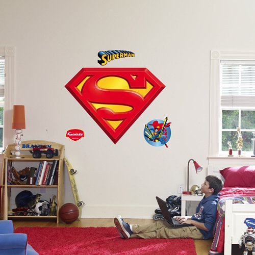 Fathead Superman Logo Peel Stick Wall Graphic - Wall Sticker Outlet