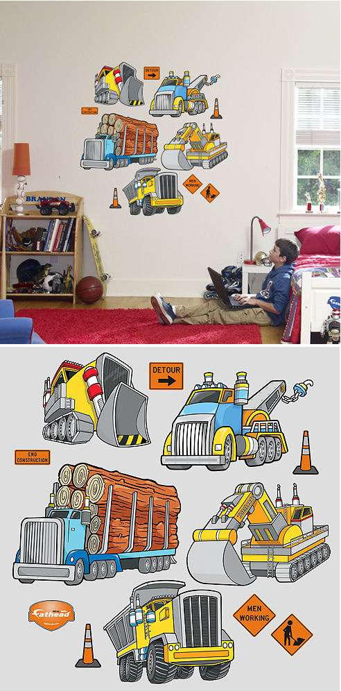 Fathead Work Trucks Peel and Stick Wall Sticker - Wall Sticker Outlet