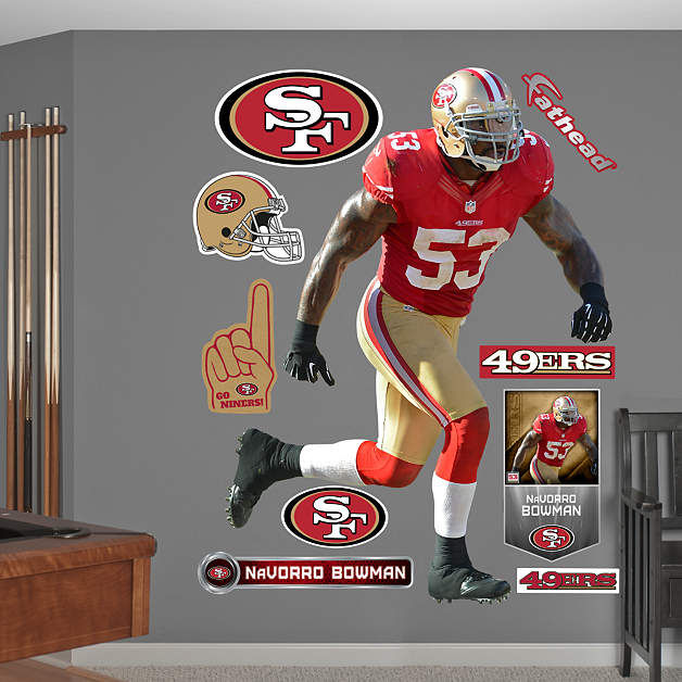 fathead san francisco 49ers navorro bowman decal On 49ers wall mural