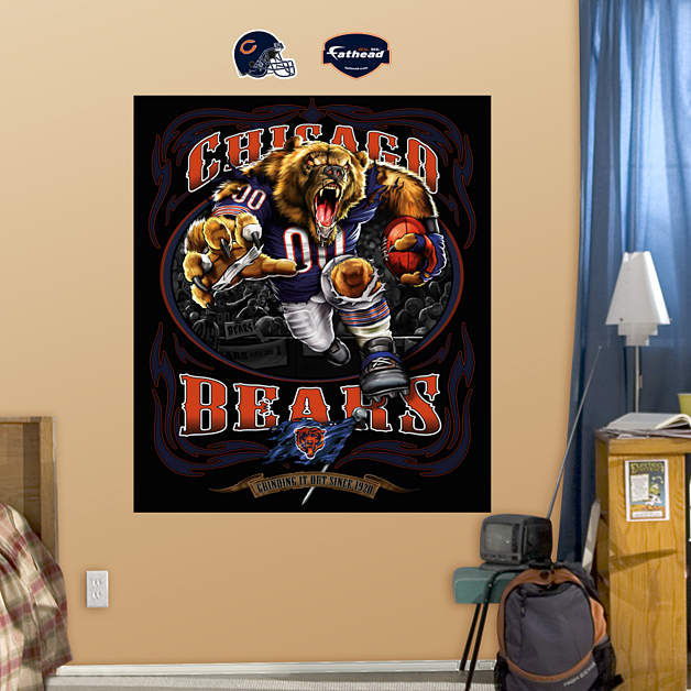 fathead chicago bears grinding it out mural