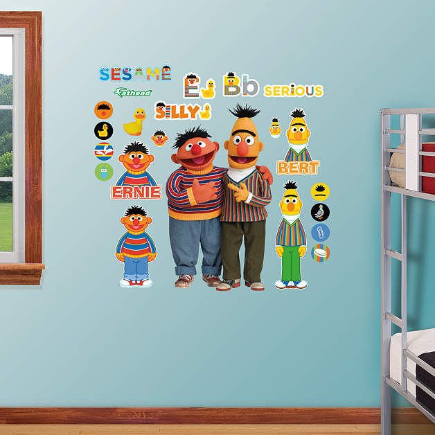 fathead sesame street bert and ernie wall graphic. Black Bedroom Furniture Sets. Home Design Ideas