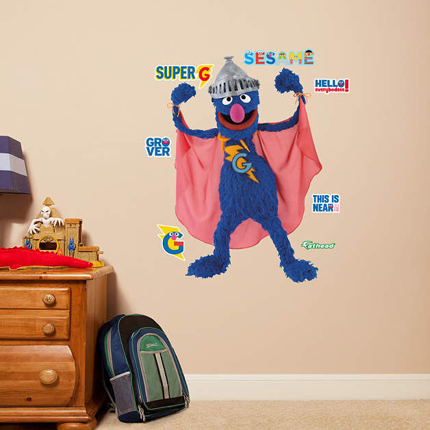 Fathead Sesame Street Super Grover Jr Wall Graphic - Wall Sticker Outlet