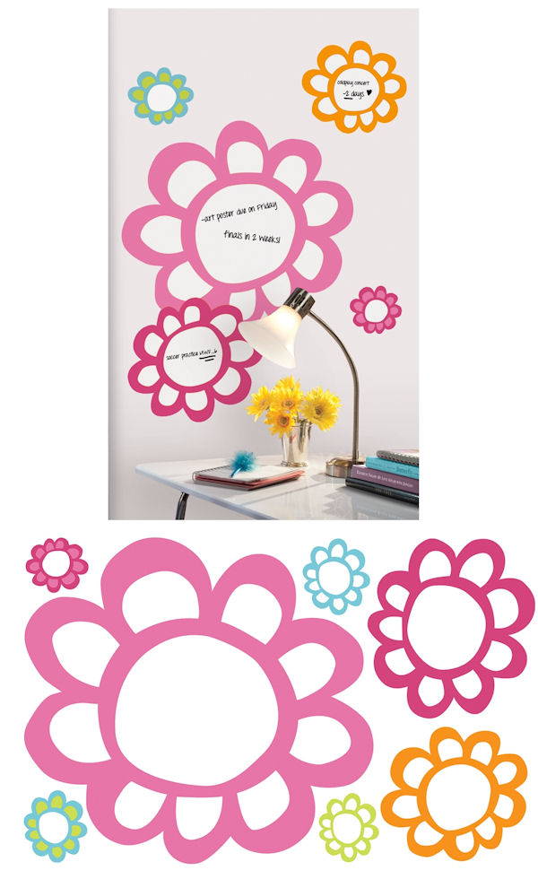Giant Floral Dry Erase Peel and Stick Decals - Wall Sticker Outlet