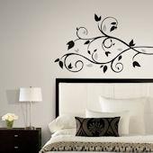 Black Scroll Branch Wall Decals with Foil Leaves