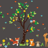 Forest Fox Jungle Animal Tree Wall Decals