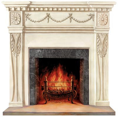 Light Wood Formal Fire Place Peel And Stick